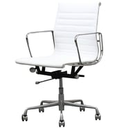 Manhattan Comfort Metro Mid-Back Leather Office Chair with Adjustable Height; White