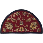 LR Resources Shapes Red/Navy Border and Classic Floral Rug; 2'3'' x 3'10''
