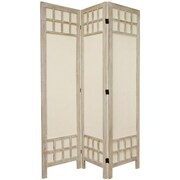 Oriental Furniture 67'' x 42'' Window Pane 3 Panel Room Divider; Burnt White