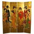 Oriental Furniture 72'' x 64'' Geisha Decorative 4 Panel Room Divider
