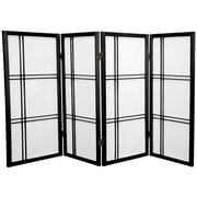 Oriental Furniture 35.75'' x 57'' Double Cross Shoji 4 Panel Room Divider; Black