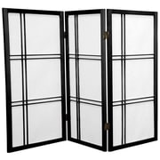 Oriental Furniture 35.75'' x 43'' Double Cross Shoji 3 Panel Room Divider; Black