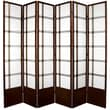 Oriental Furniture 83.5'' x 84'' Double Cross Shoji 6 Panel Room Divider; Walnut