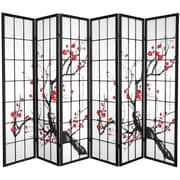 Oriental Furniture 70.25'' x 85'' Bamboo Blossom 6 Panel Room Divider; Black