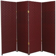 Oriental Furniture 84'' x 64'' 4 Panel Room Divider; Red / Black