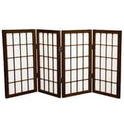 Oriental Furniture 26'' x 39'' Window Pane Shoji 4 Panel Room Divider; Walnut