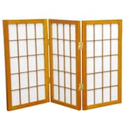 Oriental Furniture 26'' x 30'' Window Pane Shoji 3 Panel Room Divider; Honey