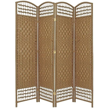 Oriental Furniture 67'' x 51'' Weave 4 Panel Room Divider; Natural