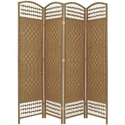 Oriental Furniture 67'' Tall Fiber Weave 4 Panel Room Divider; Natural