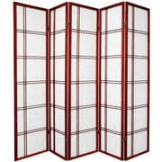 Oriental Furniture 70'' x 70'' Double Cross Shoji 5 Panel Room Divider; Rosewood