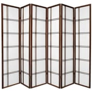 Oriental Furniture 70'' x 70'' Double Cross Shoji 5 Panel Room Divider; Walnut