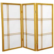 Oriental Furniture 35.75'' x 43'' Double Cross Shoji 3 Panel Room Divider; Honey