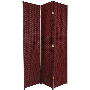 Oriental Furniture 84'' x 48'' 3 Panel Room Divider; Red / Black
