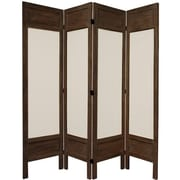 Oriental Furniture 67'' Tall Solid Frame Fabric 4 Panel Room Divider; Brown