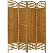 Oriental Furniture 67'' Tall Fiber Weave 4 Panel Room Divider; Light Beige
