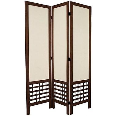 Oriental Furniture 67'' x 42'' Open Lattice 3 Panel Room Divider; Burnt Brown