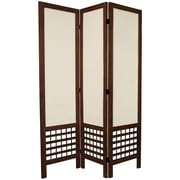 Oriental Furniture 67'' Tall Open Lattice Fabric 3 Panel Room Divider; Brown
