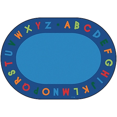 Carpets for Kids Circletime Bule Alphabet Primary Area Rug; Oval 6' x 9'
