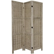 Oriental Furniture 67'' x 42'' Bamboo Tree Matchstick Woven 3 Panel Room Divider; Burnt Grey