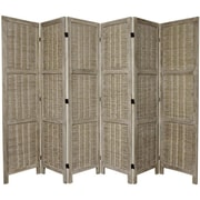 Oriental Furniture 67'' x 85'' Bamboo Tree Matchstick Woven 6 Panel Room Divider; Burnt Grey
