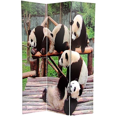 Oriental Furniture 71'' x 47.63'' Panda Bears 3 Panel Room Divider