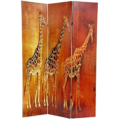 Oriental Furniture 71'' x 47.63'' Giraffe & Elephant 3 Panel Room Divider