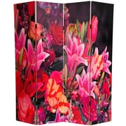 Oriental Furniture 70.88'' x 63'' Spring Flowers 4 Panel Room Divider