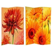 Oriental Furniture 72'' x 48'' Double Sided Poppies and Sunflowers 3 Panel Room Divider