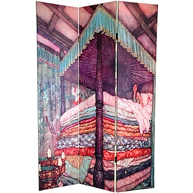 Oriental Furniture 72'' x 64'' Double Sided Princess Fairy Tale 3 Panel Room Divider