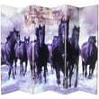 Oriental Furniture 70.88'' x 94'' Double Sided Horses 6 Panel Room Divider