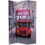 Oriental Furniture 70.88'' x 47'' Double Decker Bus 3 Panel Room Divider