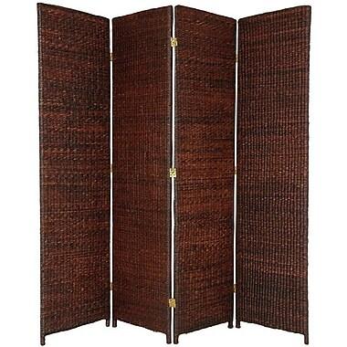 Oriental Furniture 71'' x 58'' Rush Grass Woven 4 Panel Room Divider; Dark Brown