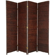Oriental Furniture 71'' Tall Rush Grass Woven 4 Panel Room Divider; Dark Brown