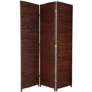 Oriental Furniture 71'' Rush Grass Woven 3 Panel Room Divider; Dark Brown