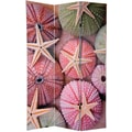 Oriental Furniture 70.88'' x 47.25'' Double Sided Starfish 3 Panel Room Divider