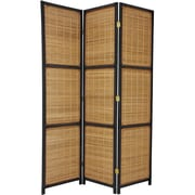 Oriental Furniture 70.75'' Tall Woven Accent 3 Panel Room Divider; Black