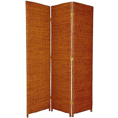 Oriental Furniture 71'' x 44'' Rush Grass Woven 3 Panel Room Divider; Honey