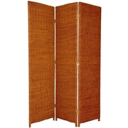 Oriental Furniture 71'' Rush Grass Woven 3 Panel Room Divider; Honey
