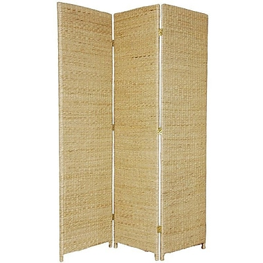 Oriental Furniture 71'' x 44'' Rush Grass Woven 3 Panel Room Divider; Natural