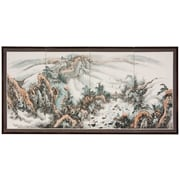 Oriental Furniture 36'' x 72'' Landscape Mountaintop 4 Panel Room Divider