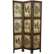 Oriental Furniture 71'' x 42'' Double Sided Botanic Printed 3 Panel Room Divider