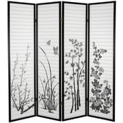 Oriental Furniture 70.25'' x 70'' Bamboo and Blossoms 4 Panel Room Divider