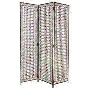 Oriental Furniture 67.75'' x 46.5'' Tall Fleur de Lis Beaded Monarchy 3 Panel Room Divider