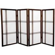 Oriental Furniture 35.75'' x 57'' Double Cross Shoji 4 Panel Room Divider; Walnut