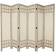 Oriental Furniture 67'' x 85'' Window Pane 6 Panel Room Divider; Burnt White