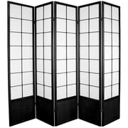 Oriental Furniture 70.25'' x 70'' Asian Zen 5 Panel Room Divider; Black