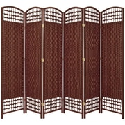 Oriental Furniture 67'' Tall Fiber Weave 6 Panel Room Divider; Dark Red