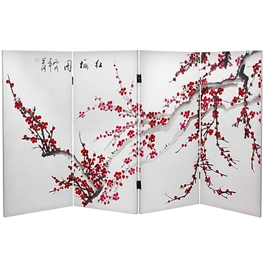 Oriental Furniture 36'' x 50.4'' Double Sided Plum Blossom 4 Panel Room Divider