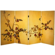 Oriental Furniture 36'' x 50.4'' Birds and Flowers on Plum Tree Double Sided 4 PanelRoom Divider