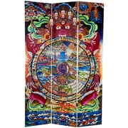 Oriental Furniture 71'' x 47.25'' The Wheel of Life Double Sided 3 Panel Room Divider